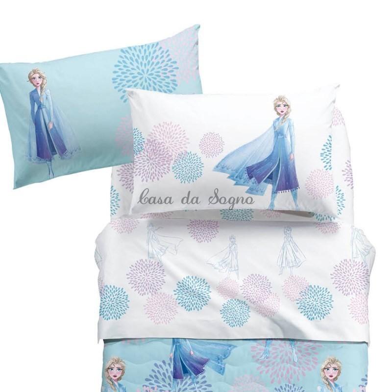 Copripiumino Una Piazza E Mezza Frozen.Lenzuola Frozen Piazza E Mezza Disney Caleffi Elsa Blu Casadasogno